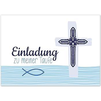 15 X Einladung Zur Taufe / Einladungskarten Mit Umschlag Im Set / Einladung  Zu Meiner Heiligen Taufe Blau Fisch / Baby Taufkarte / Grußkarte /  Postkarte /
