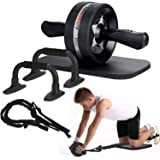 EnterSports Ab Roller Wheel, 6-in-1 Ab Roller Kit with Knee Pad, Resistance Bands, Pad Push Up Bars Handles Grips , Perfect H