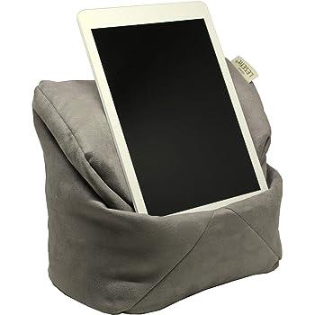 LESEfit Soft antirutsch Lesekissen, Tablet Kissen Halterung, echter Sitzsack für iPad * Buch & eReader (multifunktionale Quader-Form) für Bett & Sofa - Wildleder-Imitat grau