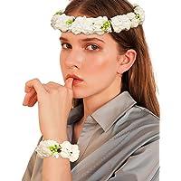 Mescara Coroncine Fiori Capelli Regolabile con Bracciale Donna Bambini Fascia per Capelli Matrimonio Fascia per l'Addio…