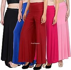 Pixie® Stylish Casual Wear Malai Lycra Pant Palazzo Combo Pack of 5 - Free Size