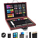 GOPLUS Sets de Dessin 80 PCS Enfants, 24 Crayons de Couleurs/Pastels à l'Huile/Pastels, 2 Pinceaux/Crayons, Gomme, Taille-Cra