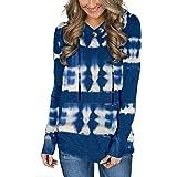 Ancapelion - Felpa da donna con cappuccio, casual, sportiva, a maniche lunghe, per autunno Tie Dye blu S