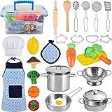 TwobeFit Juguetes de Cocina para niños, 29 Piezas Juguetes de Chef para Niños, Cocina de Acero , Vegetales para Cortar, Delan