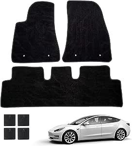 Huadi Fußmatte Auto Für Model 3 Langlebig Weich Gleitfest Reibecht Mit Umweltfreundliches Zubehöres Jedes Wetter Für Tesla Model 3 Zubehör 2017 2018 2019 2020 Auto