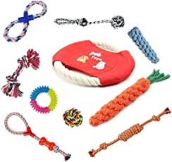SRI High Quality Durable and Strong Chew Toys - Pack of 10 Natural Cotton Rope Braided Toys for Small to Medium Dogs
