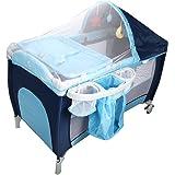 COSTWAY Reisebett Babyreisebett Kinderreisebett Klappbett Babybett Kinderbett Laufstall + Wickelauflage mit Schaukelfunktion