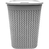 AIR O MATIC UNBRAKABLE Plastic Laundry Basket/Bag 55 Ltr (GREY & BLACK)