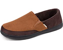 Zigzagger Men's Wool Blend Closed-back Slippers,Durable House Shoes with High-density Foam