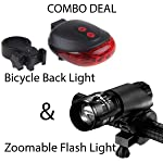 Bulfyss Combo of LED-Laser Tail Light, Zoomable Mode Bicycle Headlight, LED-Flashlight Front-Bicycle Light Lamp Mount...