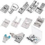 KATOOM Piedini Macchina da Cucire,11 PCS Piedini Premistoffa Macchine da Cucire Diversi Tipi e Scatola di Plastica Trasparent