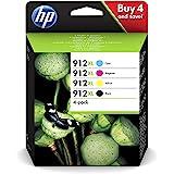 HP 912XL Set 3YP34AE Jeu de 4 cartouches d'encre XL pour HP Officejet Pro 8010, 8012, 8014, 8015, 8020, 8022, 8023, 8024, 802