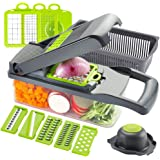Ourokhome Vegetable Chopper Slicer Dicer - 12-in-1 Fruits Cutter Mandoline Slicer Food Chopper/Cutter with 7 Stainless Steel