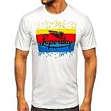 BOLF Hombre Camiseta de Manga Corta T-Shirt Escote Redondo Estampada Crew Neck Camiseta de Algodón Básico Entrenamiento Depor