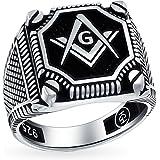 Mens Black Onyx Gemstone Inlay Compass Massoson Masonic Signet Ring For Men Solid Ossidato 925 Argento Made in Turkey