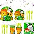 BETOY 112 Pezzi Animali Party Kit Compleanno, Jungle Safari Party Piatti, Bicchieri, Tovaglia, Cannucce, Tovaglioli, Striscio