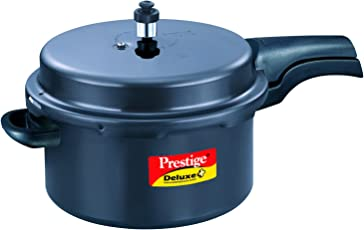 Prestige Deluxe Plus Induction Base Hard Anodized Pressure Cooker, 7.5 Litres, Black
