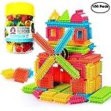 NEEDOON 100pcs Bristle Blocks Building Set Educational Stacking Jouets de Bain pour Enfants en Bas âge Enfants