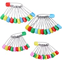 enhuton 50pcs Colorful Stainless Steel Baby Safety Pins Diaper Nappy Pins Plastic Head Hold Clip Locking Cloth 1.57inch 2inch