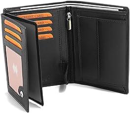 Fa.Volmer ® Schwarze Ledergeldbörse aus echtem Leder im Hochformat mit RFID Schutz Phoenix 3