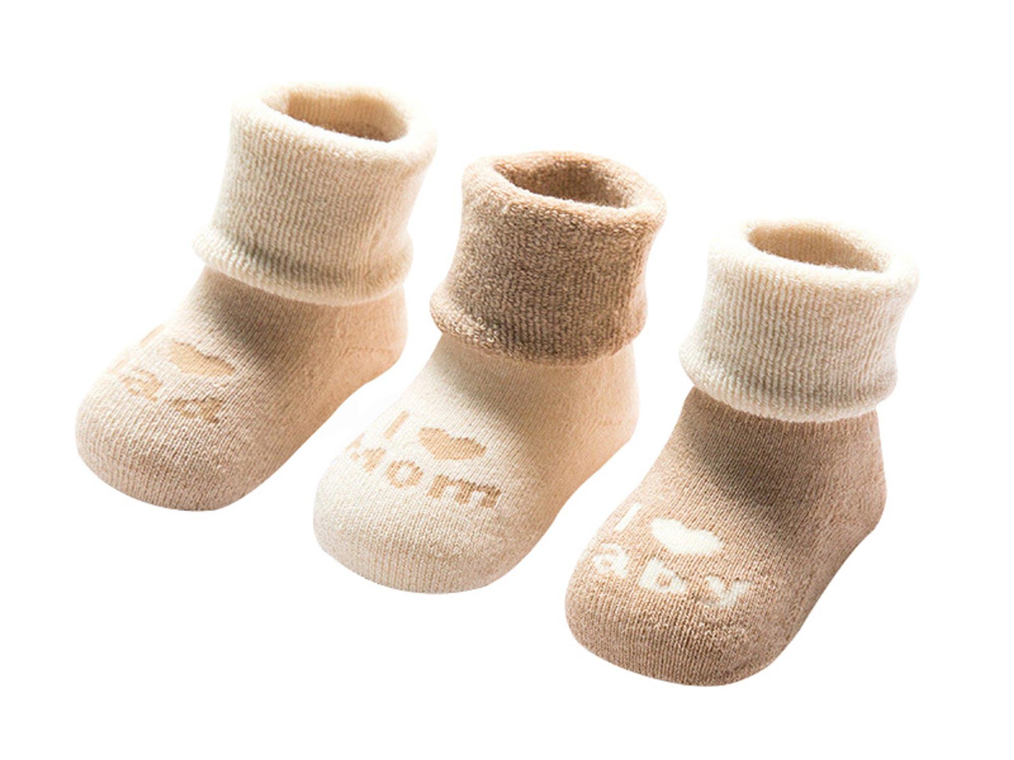 DEBAIJIA 3 Pares de Calcetines Bebé Algodón organico Grueso Calcetines Térmicos Largo Recién Nacidos 0-36 Meses Invierno… 1