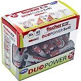 Fischer Taco DuoPower 8x40 (Caja de 50 Ud.), 536387, Gris+rojo