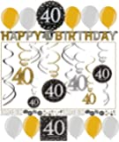 40.Geburtstag Dekoration Deko-Set 'Sparkling' Gold Silber Happy Birthday Partykette Girlande Konfetti Vierzig Jahre