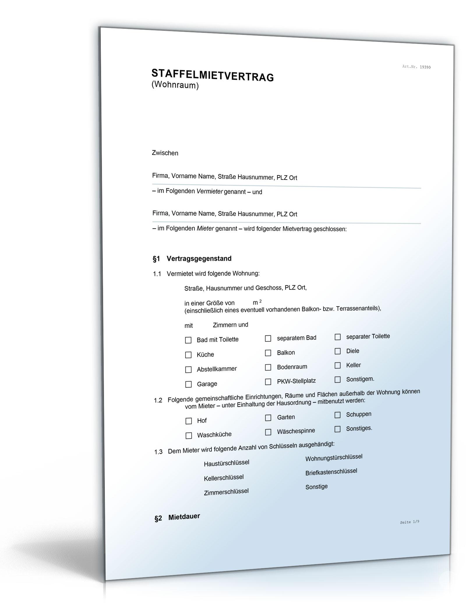 Staffelmietvertrag Wohnung (DOC) [Download]