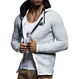 Leif Nelson Men Cardigan Jacket Hood LN-7055