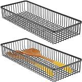 mDesign Rangement tiroir Universel (Lot de 2) – Rangement Couverts en métal pour ustensiles de Cuisine et Autres Objets – Cor
