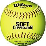 Wilson SCB Softball, WTA9117T Palla da Softball, Rivestimento Ultra Grip, Gialla