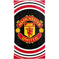 MUFC Official Manchester United Crest Beach Towel (100% Cotton-70cm x 140cm)