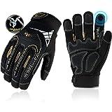 Vgo Glove guanti da lavoro elevati carichi meccanici, per il gran lavoro carico, guanti di protezione vibrazioni, resistente, touch screen, TPR nocche, imbottitura EVA (nero, 9/L, 1Paio, SL8849)