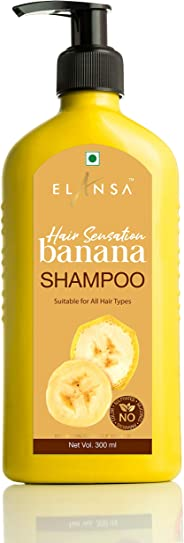 Elansa Hair Sensation Banana Shampoo - No Parabens, Color, Sulphates and Silicones, 300 ml