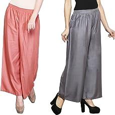 Eldino Rayon Pyazi Grey Plazo Pant Indian Ethnic Plain Casual Wear Plazo Pant Women's Girls