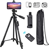 Tripod, 50 Inch Aluminum Tripod, Video Tripod for Cellphone, Camera, Universal Tripod with Wireless Remote, Compatible with i