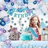Decoraciones de cumpleaños para niña, tema de princesa con corona y cetro, copos de nieve, globos de látex azul plateado para