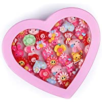 Aizelx Kids Girls Cartoon Fancy Finger Rings for Birthday Gifts Comes in Pink Heart Shape Box .Suitable for Age 2- 10…