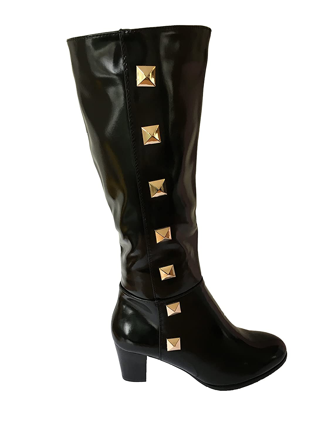 Ladies Knee High Boots With Soft Fur Lined Inner and Gold Colour ...
