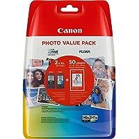 Canon PG-540XL/CL-541XL Cartuccia Originale Getto d'Inchiostro a Resa Elevata, 2 Pezzi, Nero/Colore + 50 Fogli di Carta…