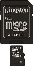 Kingston SDC4/16GB Memoria MicroSDHC con Adattatore SD, 16 GB, Class 4
