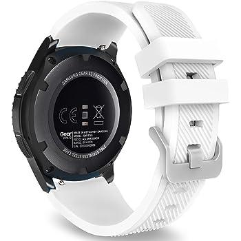 MoKo Gear S3 Frontier Smartwatch Bracelet en Silicone Souple pour Samsung Galaxy Watch 46mm/Gear S3 Frontier/S3 Classic/Moto 360 2nd Gen 46mm Smart Watch,Pas Compatible avec S2,S2 Classic,Blanc