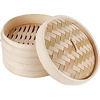 HANHAN Vaporiera in bambù Naturale, Cestello Cottura a Vapore 2 Livelli con Coperchio, Ideale per Ravioli, Verdure e Dim…