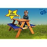 Pro-Manufactur Stabile Kinder-Sitzgruppe für 4 inkl.Polsterauflagen lasiert