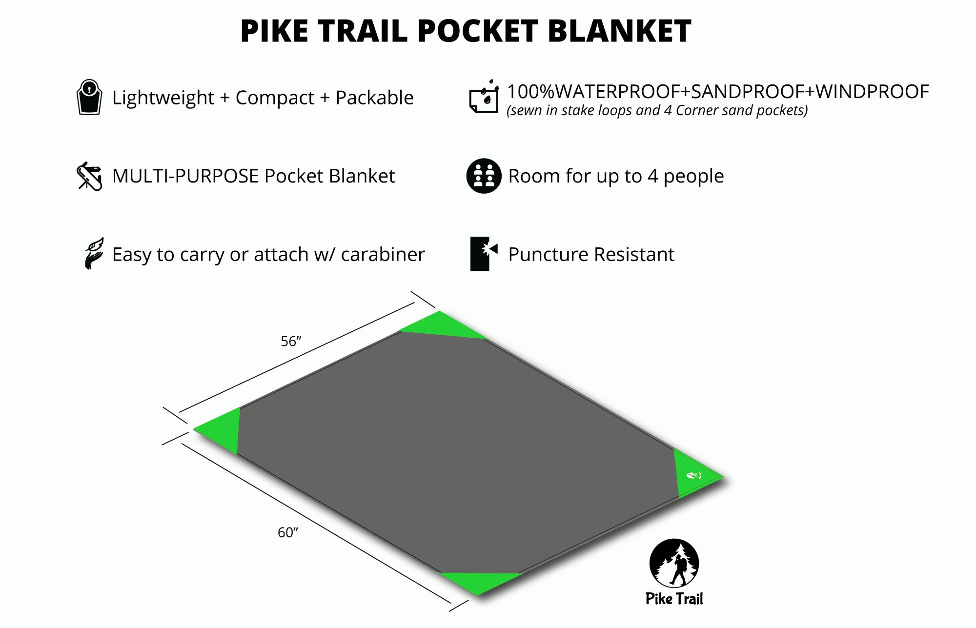 Pike Trail Pocket Blanket – Waterproof, Lightweight and Durable Tarpaulin for Outdoors – 152 x 142cm 3