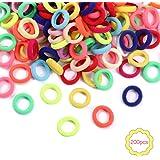 200 Piezas gomas pelo niña pequeñas de Pelo Coloridas para Niñas Mini Bandas de Goma Elásticas para el Cabello para Bebés Col
