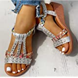 DZQQ Sandalias de Verano para Mujer, Zapatos de cuña con Plataforma Bohemia, Zapatos de Playa de Gladiador de Cristal Roma pa