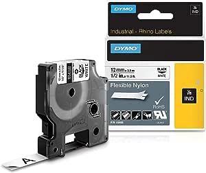 Dymo Rhino Tape Industrial Nylon Labels 24mm X 3 5m Black White Black On White Bürobedarf Schreibwaren