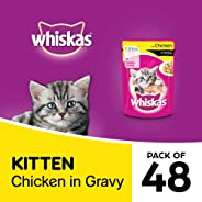 Whiskas Kitten (2-12 months) Wet Cat Food, Chicken in Gravy Monthly Pack, 48 Pouches (48 x 85g)