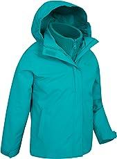Mountain Warehouse Fell 3-in-1-Jacke für Kinder - Freizeitjacke mit Reißverschluss, wasserbeständiger Regenmantel, Innenteil aus Fleece, vestellbare Kapuze